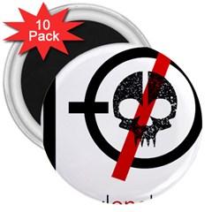 Twenty One Pilots Skull 3  Magnets (10 Pack)  by Onesevenart