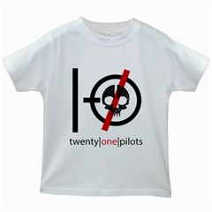 Twenty One Pilots Skull Kids White T Shirts by Onesevenart