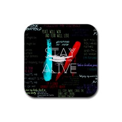 Twenty One Pilots Stay Alive Song Lyrics Quotes Rubber Coaster (square)  by Onesevenart