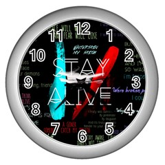 Twenty One Pilots Stay Alive Song Lyrics Quotes Wall Clocks (silver)  by Onesevenart