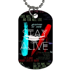 Twenty One Pilots Stay Alive Song Lyrics Quotes Dog Tag (one Side) by Onesevenart