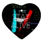 Twenty One Pilots Stay Alive Song Lyrics Quotes Heart Ornament (2 Sides)