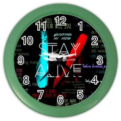 Twenty One Pilots Stay Alive Song Lyrics Quotes Color Wall Clocks by Onesevenart