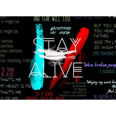 Twenty One Pilots Stay Alive Song Lyrics Quotes Birthday Cake 3d Greeting Card (7x5) by Onesevenart