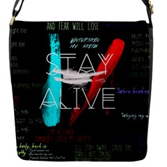 Twenty One Pilots Stay Alive Song Lyrics Quotes Flap Messenger Bag (s) by Onesevenart