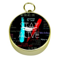 Twenty One Pilots Stay Alive Song Lyrics Quotes Gold Compasses by Onesevenart
