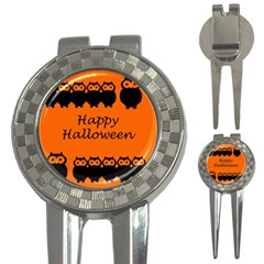 Happy Halloween   Owls 3 In 1 Golf Divots by Valentinaart