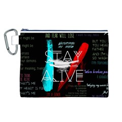 Twenty One Pilots Stay Alive Song Lyrics Quotes Canvas Cosmetic Bag (l) by Onesevenart