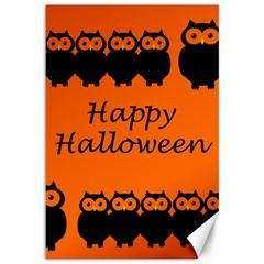 Happy Halloween   Owls Canvas 12  X 18   by Valentinaart