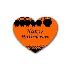 Happy Halloween   Owls Heart Coaster (4 Pack)  by Valentinaart