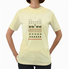 Ugly Christmas Humping Women s Yellow T Shirt by Onesevenart