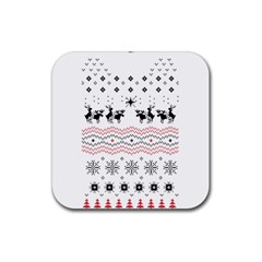 Ugly Christmas Humping Rubber Square Coaster (4 Pack)  by Onesevenart