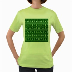 Ugly Christmas Women s Green T Shirt by Onesevenart