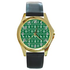 Ugly Christmas Round Gold Metal Watch by Onesevenart