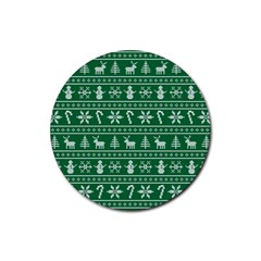 Ugly Christmas Rubber Coaster (round)  by Onesevenart