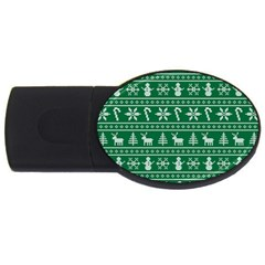 Ugly Christmas Usb Flash Drive Oval (4 Gb)  by Onesevenart