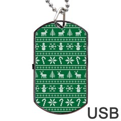 Ugly Christmas Dog Tag Usb Flash (two Sides)  by Onesevenart