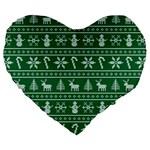 Ugly Christmas Large 19  Premium Heart Shape Cushions