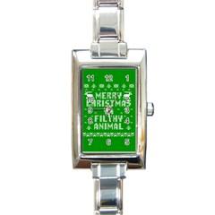 Ugly Christmas Ya Filthy Animal Rectangle Italian Charm Watch by Onesevenart