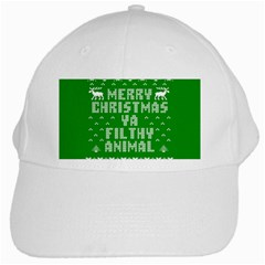 Ugly Christmas Ya Filthy Animal White Cap by Onesevenart