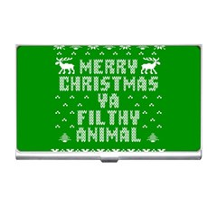 Ugly Christmas Ya Filthy Animal Business Card Holders by Onesevenart