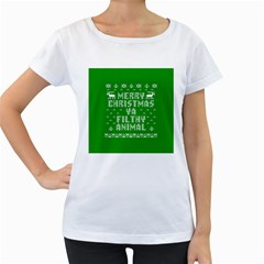 Ugly Christmas Ya Filthy Animal Women s Loose Fit T Shirt (white) by Onesevenart