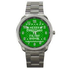 Ugly Christmas Ya Filthy Animal Sport Metal Watch by Onesevenart