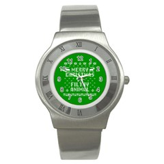 Ugly Christmas Ya Filthy Animal Stainless Steel Watch by Onesevenart