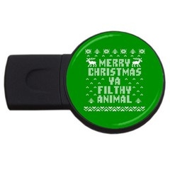 Ugly Christmas Ya Filthy Animal Usb Flash Drive Round (4 Gb)  by Onesevenart