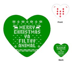 Ugly Christmas Ya Filthy Animal Playing Cards (heart)  by Onesevenart