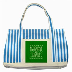 Ugly Christmas Ya Filthy Animal Striped Blue Tote Bag by Onesevenart