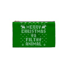 Ugly Christmas Ya Filthy Animal Cosmetic Bag (small)  by Onesevenart