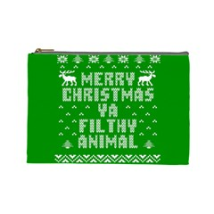 Ugly Christmas Ya Filthy Animal Cosmetic Bag (large)  by Onesevenart