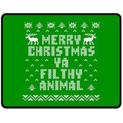 Ugly Christmas Ya Filthy Animal Fleece Blanket (medium)  by Onesevenart