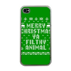 Ugly Christmas Ya Filthy Animal Apple Iphone 4 Case (clear) by Onesevenart