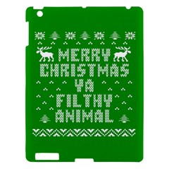 Ugly Christmas Ya Filthy Animal Apple Ipad 3/4 Hardshell Case by Onesevenart