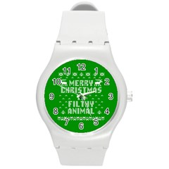 Ugly Christmas Ya Filthy Animal Round Plastic Sport Watch (m) by Onesevenart