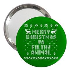 Ugly Christmas Ya Filthy Animal 3  Handbag Mirrors by Onesevenart