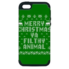 Ugly Christmas Ya Filthy Animal Apple Iphone 5 Hardshell Case (pc+silicone) by Onesevenart