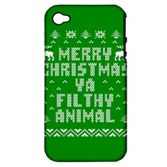 Ugly Christmas Ya Filthy Animal Apple Iphone 4/4s Hardshell Case (pc+silicone) by Onesevenart