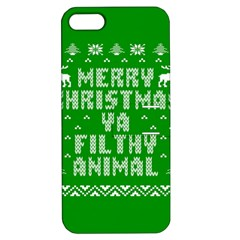 Ugly Christmas Ya Filthy Animal Apple Iphone 5 Hardshell Case With Stand by Onesevenart