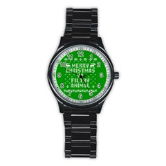 Ugly Christmas Ya Filthy Animal Stainless Steel Round Watch by Onesevenart