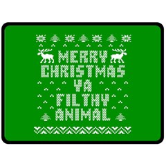 Ugly Christmas Ya Filthy Animal Double Sided Fleece Blanket (large)  by Onesevenart