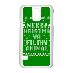 Ugly Christmas Ya Filthy Animal Samsung Galaxy S5 Case (white) by Onesevenart