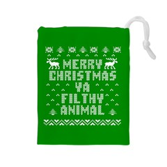 Ugly Christmas Ya Filthy Animal Drawstring Pouches (large)  by Onesevenart