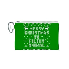 Ugly Christmas Ya Filthy Animal Canvas Cosmetic Bag (s) by Onesevenart
