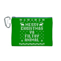 Ugly Christmas Ya Filthy Animal Canvas Cosmetic Bag (m) by Onesevenart