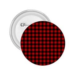 Lumberjack Plaid Fabric Pattern Red Black 2 25  Buttons by EDDArt