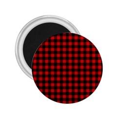Lumberjack Plaid Fabric Pattern Red Black 2 25  Magnets by EDDArt