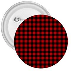 Lumberjack Plaid Fabric Pattern Red Black 3  Buttons by EDDArt